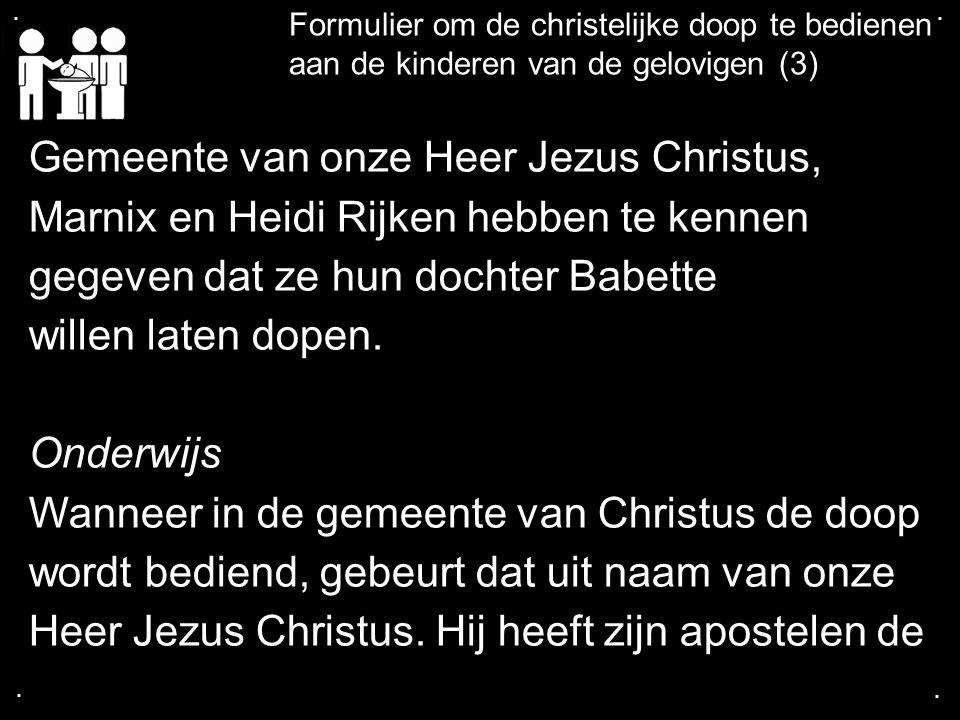 .... Formulier om de christelijke doop te bedienen aan de kinderen van de gelovigen (3) Gemeente van onze Heer Jezus Christus, Marnix en Heidi Rijken
