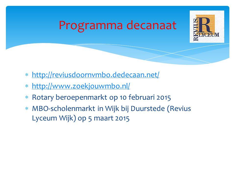 Programma decanaat  http://reviusdoornvmbo.dedecaan.net/ http://reviusdoornvmbo.dedecaan.net/  http://www.zoekjouwmbo.nl/ http://www.zoekjouwmbo.nl/