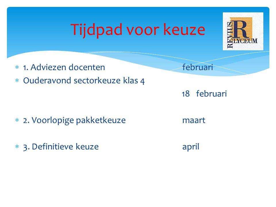 Tijdpad voor keuze  1. Adviezen docenten februari  Ouderavond sectorkeuze klas 4 18 februari  2. Voorlopige pakketkeuze maart  3. Definitieve keuz