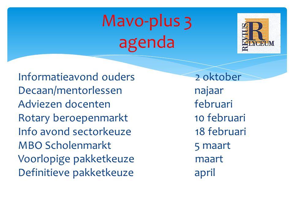 Mavo-plus 3 agenda Informatieavond ouders 2 oktober Decaan/mentorlessennajaar Adviezen docentenfebruari Rotary beroepenmarkt10 februari Info avond sec