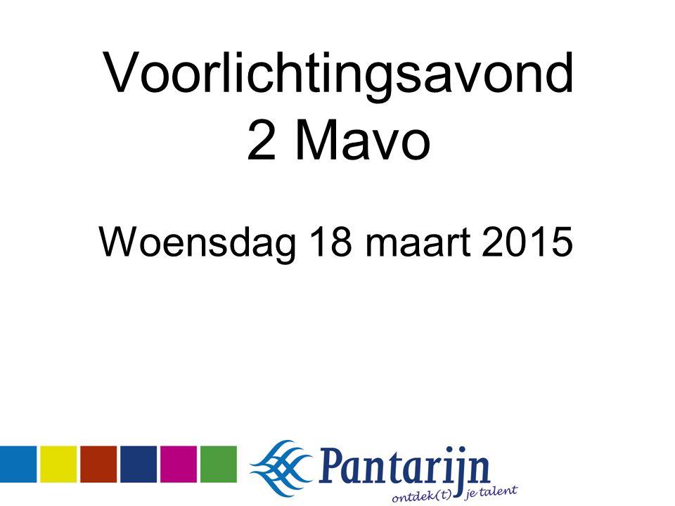 Voorlichtingsavond 2 Mavo Woensdag 18 maart 2015