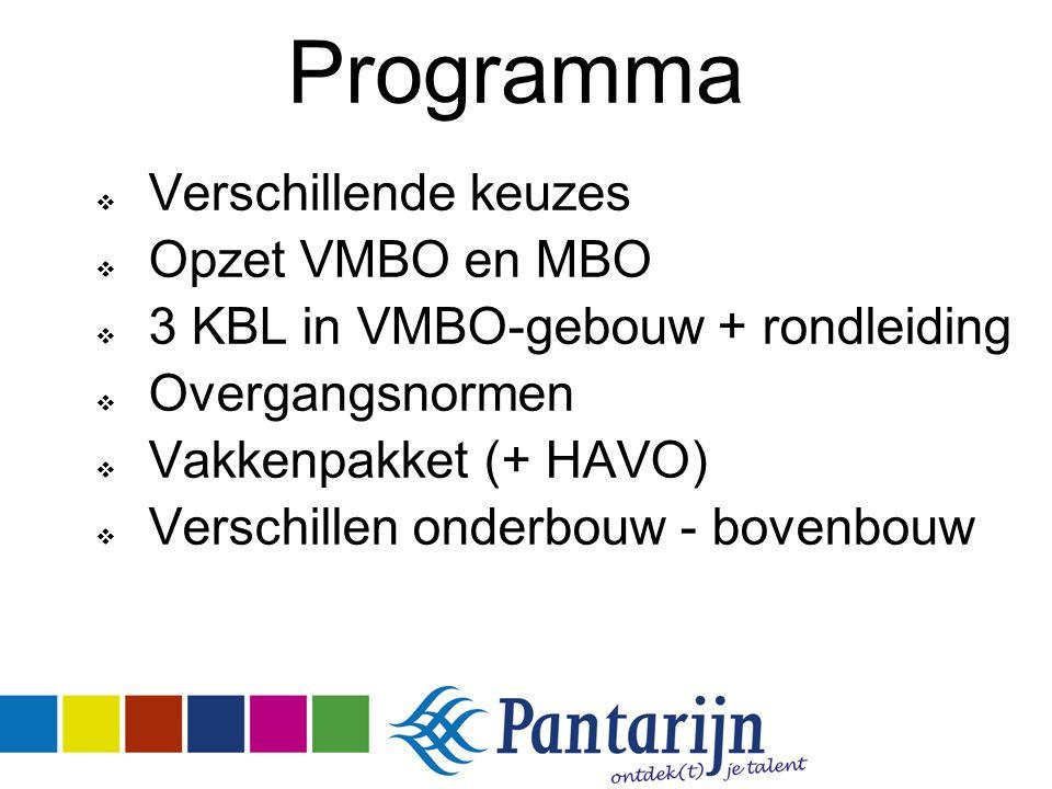 Programma  Verschillende keuzes  Opzet VMBO en MBO  3 KBL in VMBO-gebouw + rondleiding  Overgangsnormen  Vakkenpakket (+ HAVO)  Verschillen onde