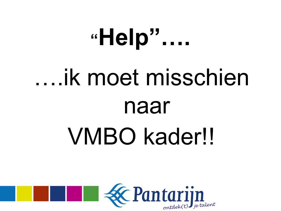 """"""" Help""""…. ….ik moet misschien naar VMBO kader!!"""