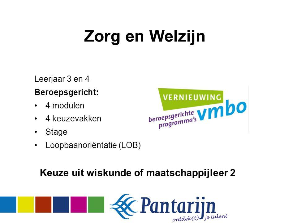 Zorg en Welzijn Leerjaar 3 en 4 Beroepsgericht: 4 modulen 4 keuzevakken Stage Loopbaanoriëntatie (LOB) Keuze uit wiskunde of maatschappijleer 2