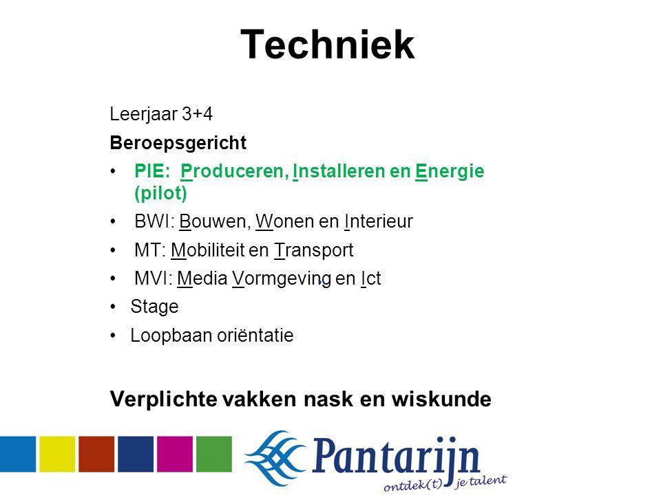 Techniek Leerjaar 3+4 Beroepsgericht PIE: Produceren, Installeren en Energie (pilot) BWI: Bouwen, Wonen en Interieur MT: Mobiliteit en Transport MVI: