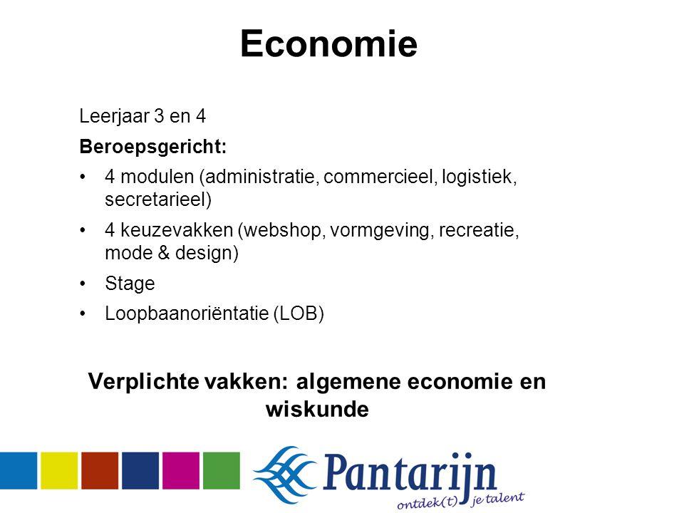 Economie Leerjaar 3 en 4 Beroepsgericht: 4 modulen (administratie, commercieel, logistiek, secretarieel) 4 keuzevakken (webshop, vormgeving, recreatie