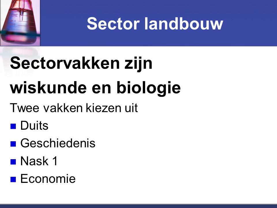 Sector landbouw Sectorvakken zijn wiskunde en biologie Twee vakken kiezen uit Duits Geschiedenis Nask 1 Economie
