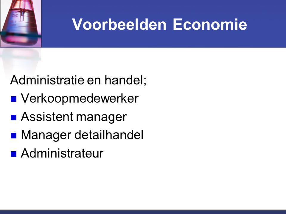 Voorbeelden Economie Administratie en handel; Verkoopmedewerker Assistent manager Manager detailhandel Administrateur