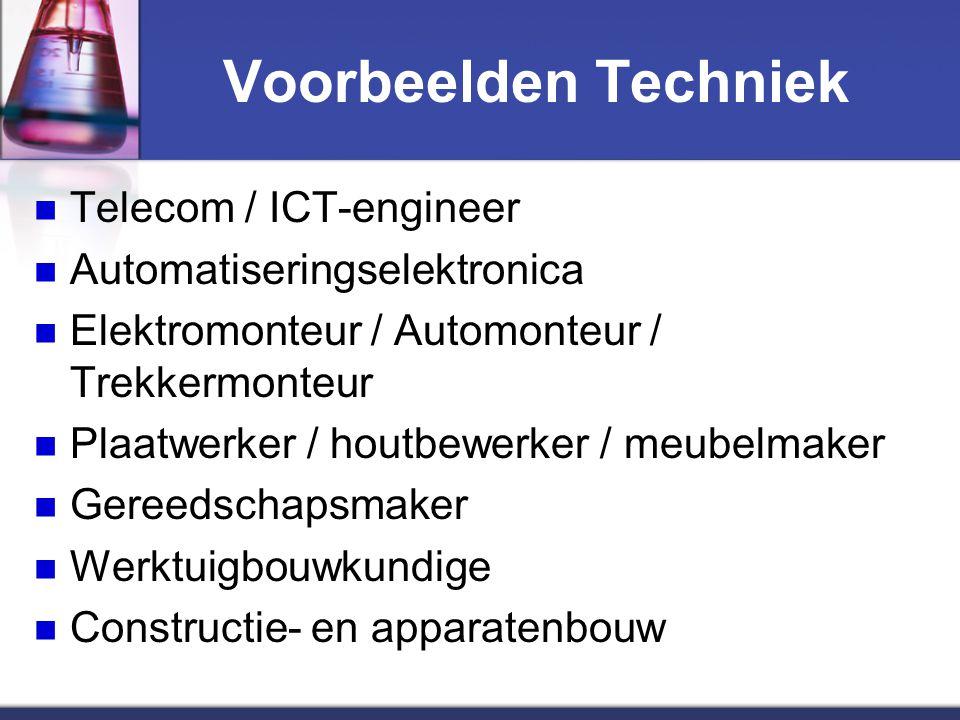 Voorbeelden Techniek Telecom / ICT-engineer Automatiseringselektronica Elektromonteur / Automonteur / Trekkermonteur Plaatwerker / houtbewerker / meubelmaker Gereedschapsmaker Werktuigbouwkundige Constructie- en apparatenbouw