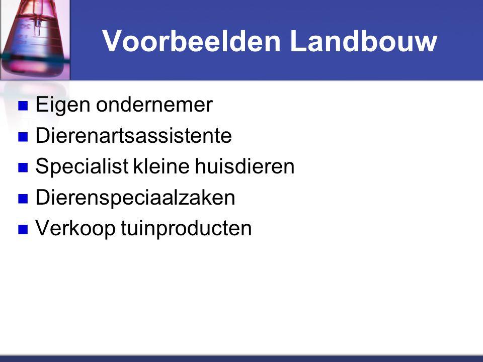 Voorbeelden Landbouw Eigen ondernemer Dierenartsassistente Specialist kleine huisdieren Dierenspeciaalzaken Verkoop tuinproducten