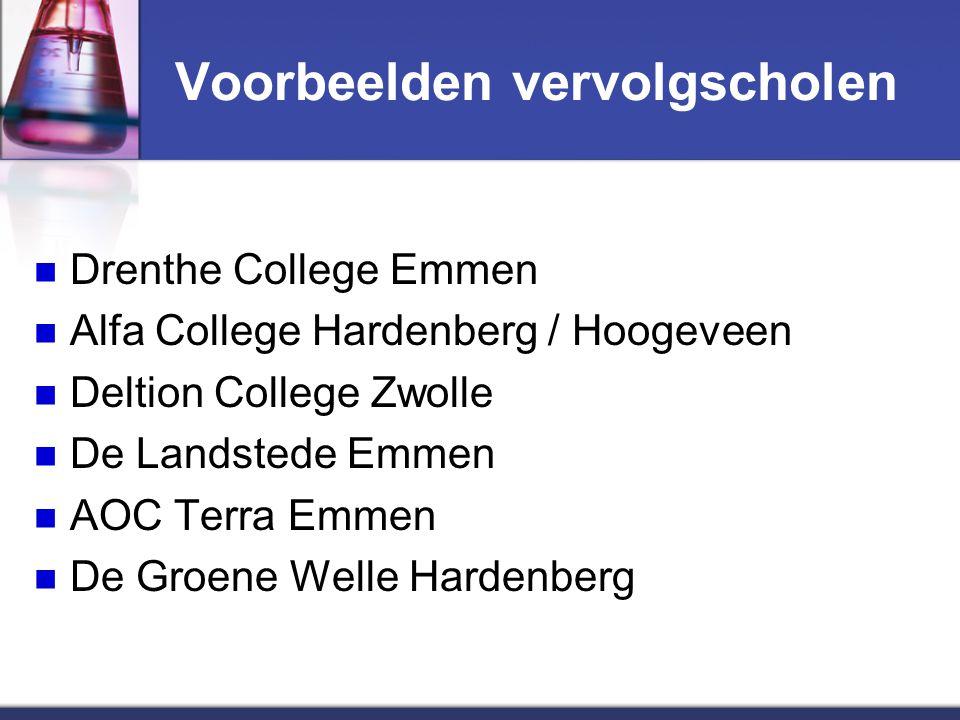 Voorbeelden vervolgscholen Drenthe College Emmen Alfa College Hardenberg / Hoogeveen Deltion College Zwolle De Landstede Emmen AOC Terra Emmen De Groene Welle Hardenberg