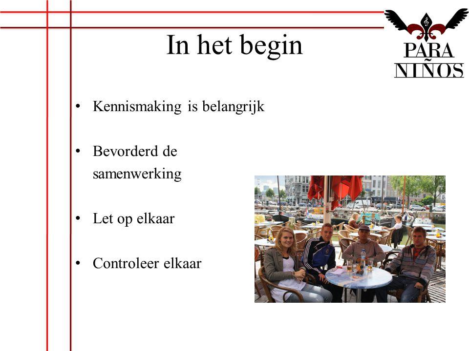 In het begin Kennismaking is belangrijk Bevorderd de samenwerking Let op elkaar Controleer elkaar