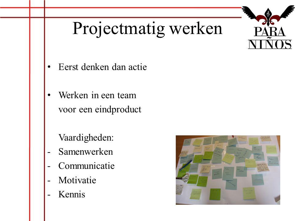 Projectmatig werken Eerst denken dan actie Werken in een team voor een eindproduct Vaardigheden: -Samenwerken -Communicatie -Motivatie -Kennis
