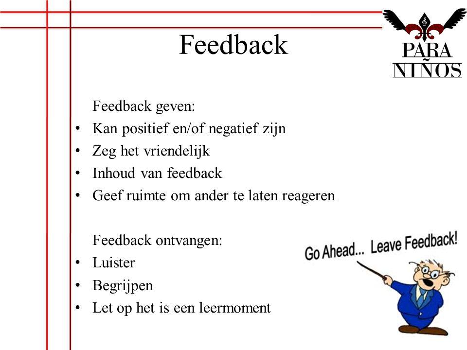 Feedback Feedback geven: Kan positief en/of negatief zijn Zeg het vriendelijk Inhoud van feedback Geef ruimte om ander te laten reageren Feedback ontv