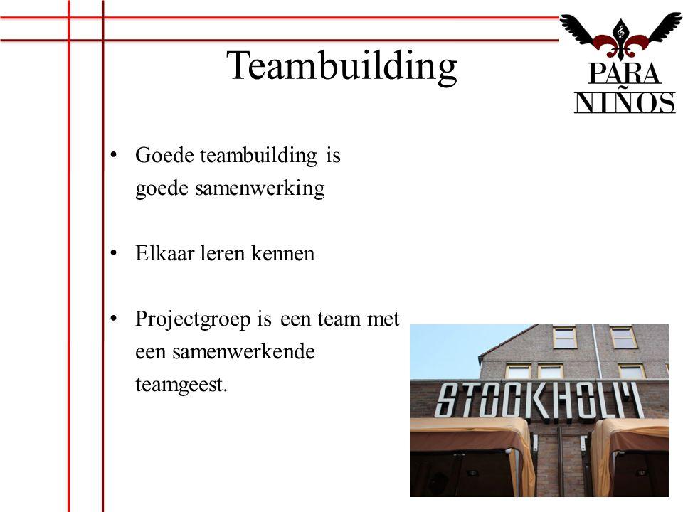 Teambuilding Goede teambuilding is goede samenwerking Elkaar leren kennen Projectgroep iseen team met een samenwerkende teamgeest.