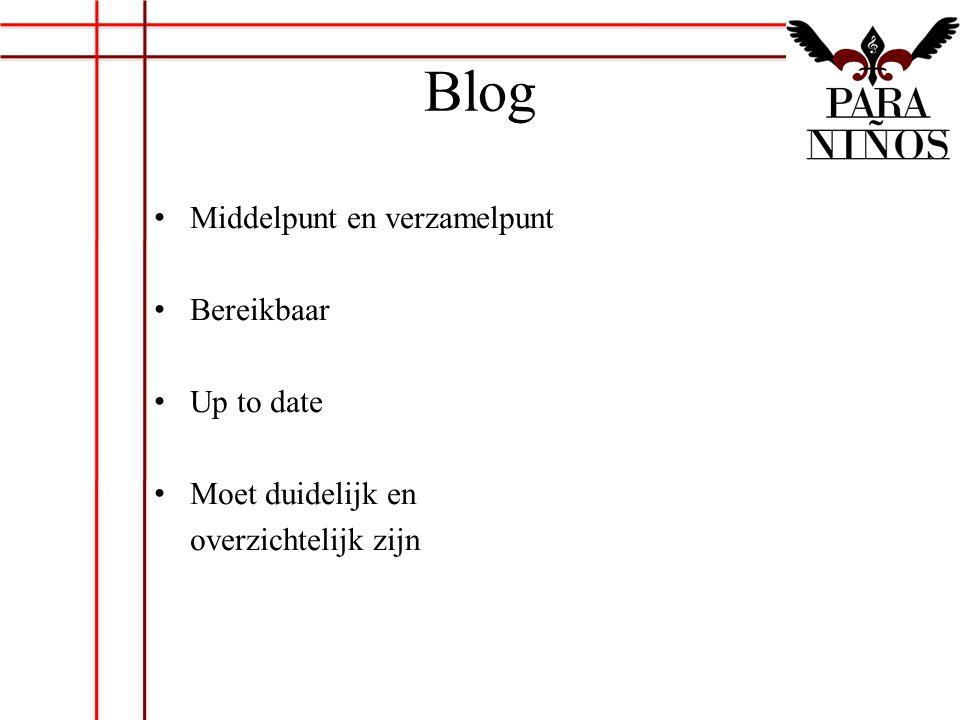 Blog Middelpunt en verzamelpunt Bereikbaar Up to date Moet duidelijk en overzichtelijk zijn