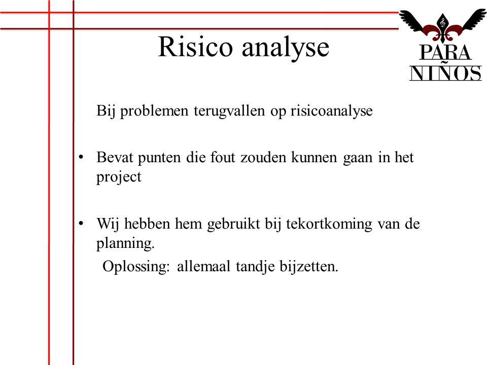 Risico analyse Bij problemen terugvallen op risicoanalyse Bevat punten die fout zouden kunnen gaan in het project Wij hebben hem gebruikt bij tekortko