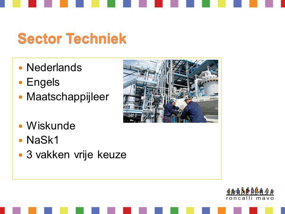 Examenvakken Iedereen Nederlands, Engels, Maatschappijleer, L.O, rekenen en sectorwerkstuk Totaal 8 examenvakken, rekenen en L.O Vakkenpakket moet passen in een sector