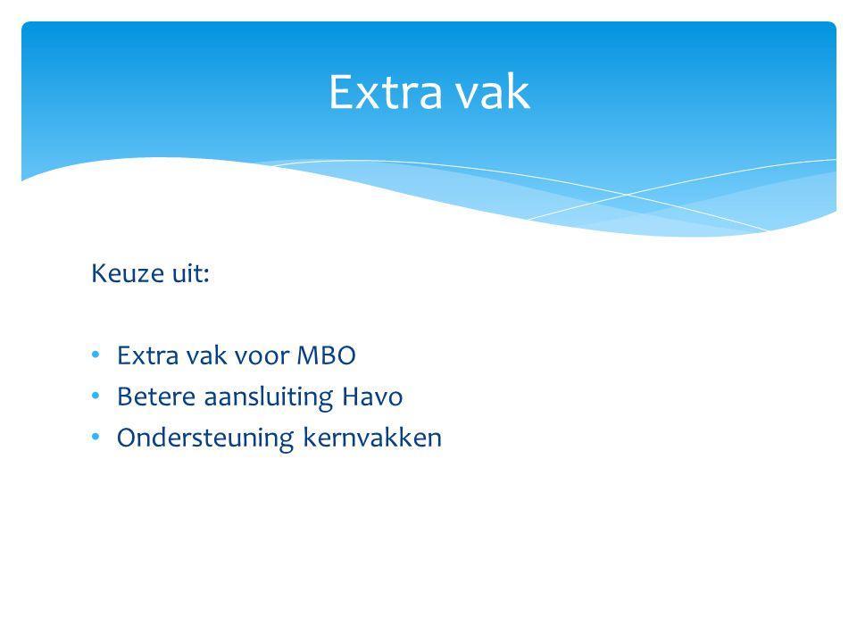 Keuze uit: Extra vak voor MBO Betere aansluiting Havo Ondersteuning kernvakken Extra vak