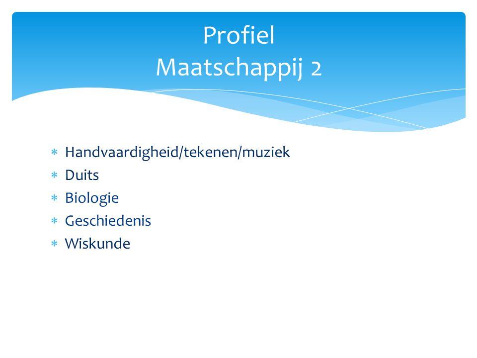  Handvaardigheid/tekenen/muziek  Duits  Biologie  Geschiedenis  Wiskunde Profiel Maatschappij 2