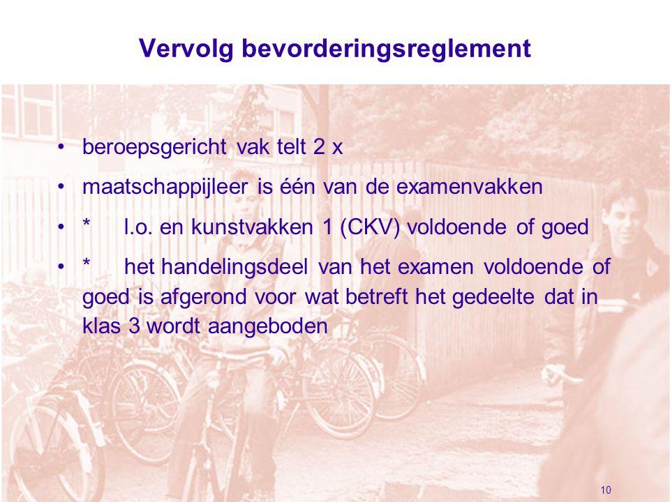 Vervolg bevorderingsreglement beroepsgericht vak telt 2 x maatschappijleer is één van de examenvakken *l.o.