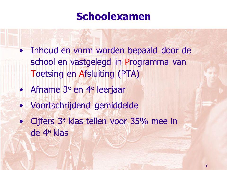 4 Schoolexamen Inhoud en vorm worden bepaald door de school en vastgelegd in Programma van Toetsing en Afsluiting (PTA) Afname 3 e en 4 e leerjaar Voortschrijdend gemiddelde Cijfers 3 e klas tellen voor 35% mee in de 4 e klas