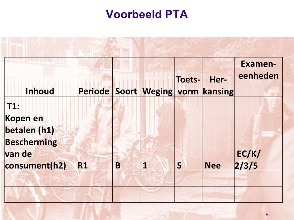 Voorbeeld PTA 5 InhoudPeriodeSoortWeging Toets- vorm Her- kansing Examen- eenheden T1: R1 B 1 S Nee EC/K/ 2/3/5 Kopen en betalen (h1) Bescherming van de consument(h2)