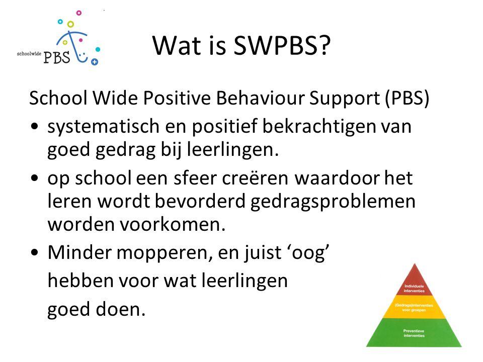 Wat is SWPBS? School Wide Positive Behaviour Support (PBS) systematisch en positief bekrachtigen van goed gedrag bij leerlingen. op school een sfeer c