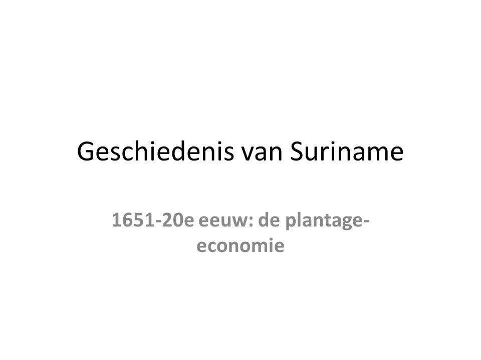 Geschiedenis van Suriname 1651-20e eeuw: de plantage- economie