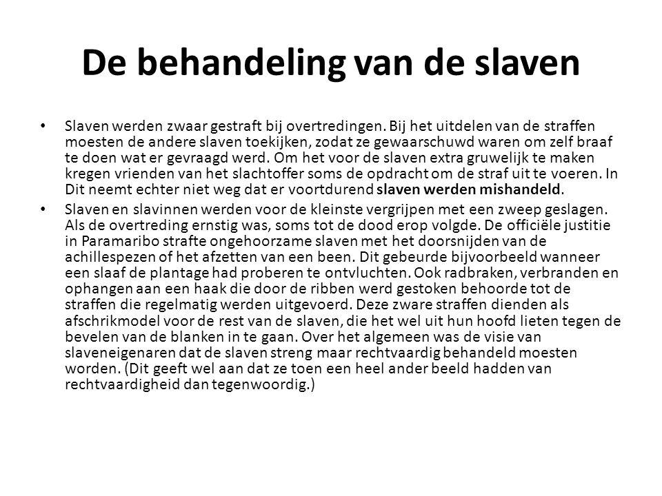 De behandeling van de slaven Slaven werden zwaar gestraft bij overtredingen.