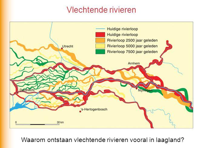Vlechtende rivieren Waarom ontstaan vlechtende rivieren vooral in laagland?