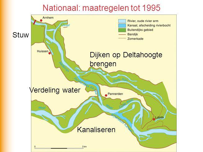 Nationaal: maatregelen tot 1995 Dijken op Deltahoogte brengen Verdeling water Kanaliseren Stuw