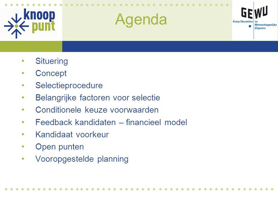 Agenda Situering Concept Selectieprocedure Belangrijke factoren voor selectie Conditionele keuze voorwaarden Feedback kandidaten – financieel model Kandidaat voorkeur Open punten Vooropgestelde planning