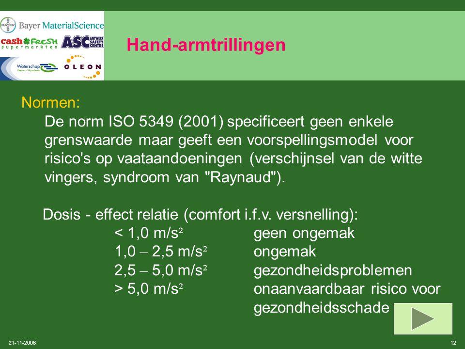 21-11-2006 11 Hand-armtrillingen Gezondheidseffecten:  Doof gevoel, tintelingen, vermindering van tastzin, vibratiezin en warmtezin  Bloedvataandoen