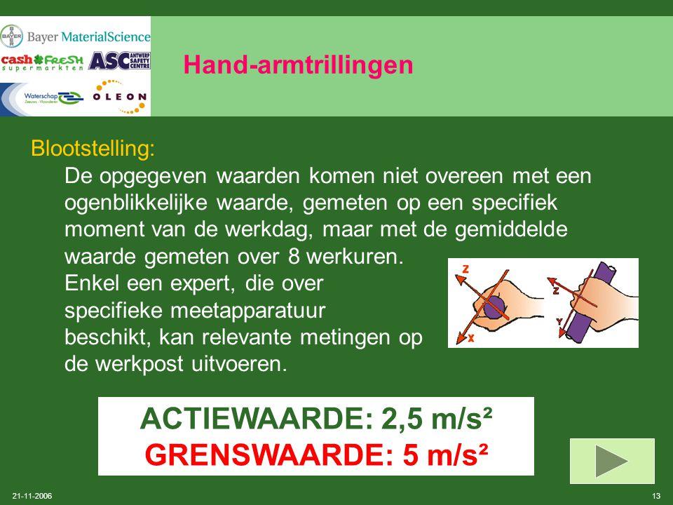 21-11-2006 12 Hand-armtrillingen Normen: De norm ISO 5349 (2001) specificeert geen enkele grenswaarde maar geeft een voorspellingsmodel voor risico's