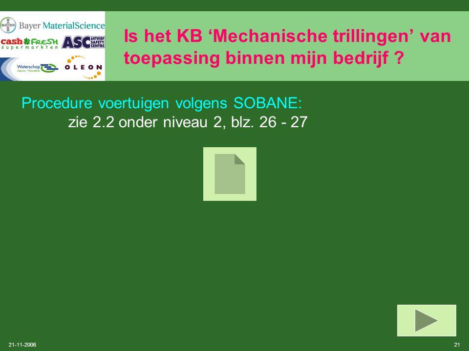 21-11-2006 20 Is het KB 'Mechanische trillingen' van toepassing binnen mijn bedrijf ? Is een van volgende voertuigen aanwezig ? Grondverzetmachines (s