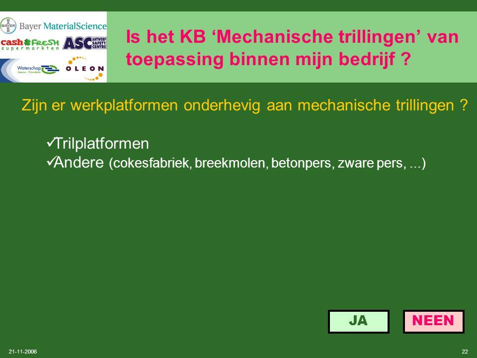 21-11-2006 21 Is het KB 'Mechanische trillingen' van toepassing binnen mijn bedrijf ? Procedure voertuigen volgens SOBANE: zie 2.2 onder niveau 2, blz