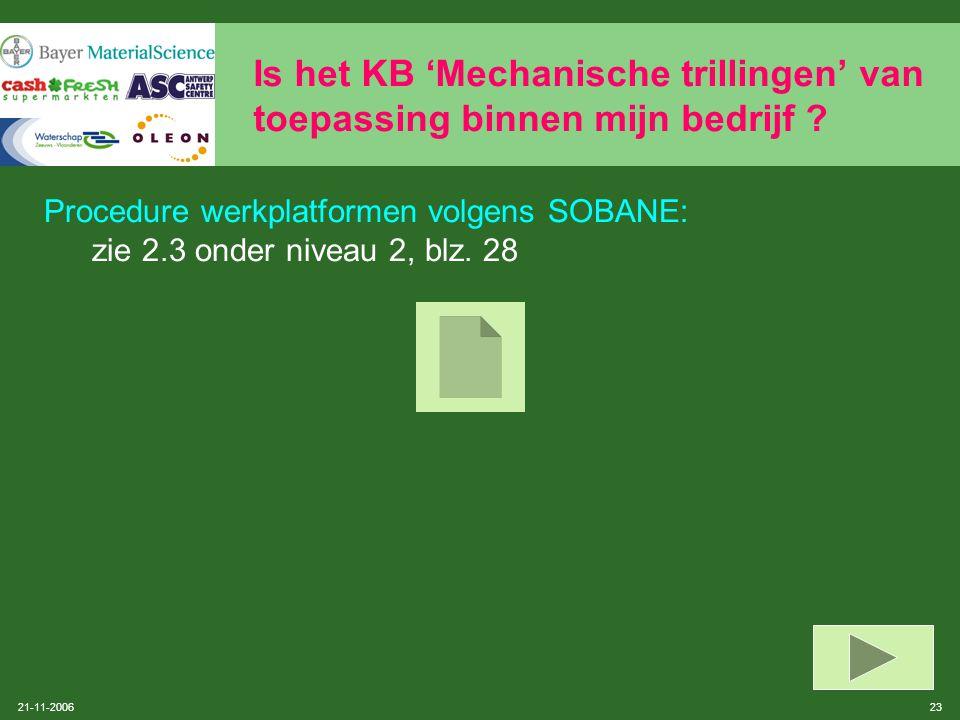 21-11-2006 22 Is het KB 'Mechanische trillingen' van toepassing binnen mijn bedrijf ? Zijn er werkplatformen onderhevig aan mechanische trillingen ? T
