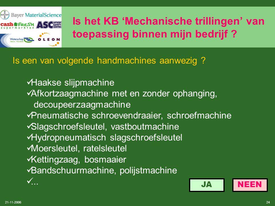 21-11-2006 23 Is het KB 'Mechanische trillingen' van toepassing binnen mijn bedrijf ? Procedure werkplatformen volgens SOBANE: zie 2.3 onder niveau 2,