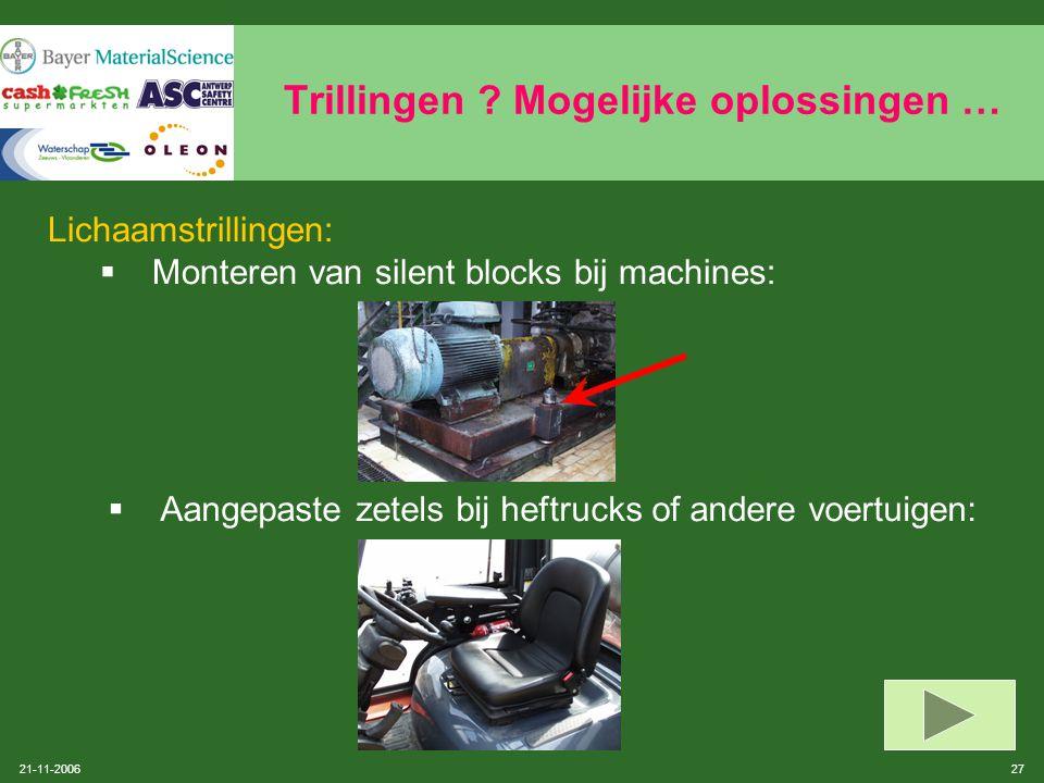 21-11-2006 26 Is het KB 'Mechanische trillingen' van toepassing binnen mijn bedrijf ? Einde van de inventarisatie