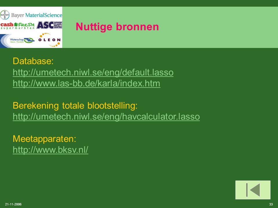 21-11-2006 32 Nuttige bronnen Instantie: Fonds voor beroepsziekten: dienst Preventie (informatie i.v.m. trillingsmetingen) http://www.fmp-fbz.fgov.be
