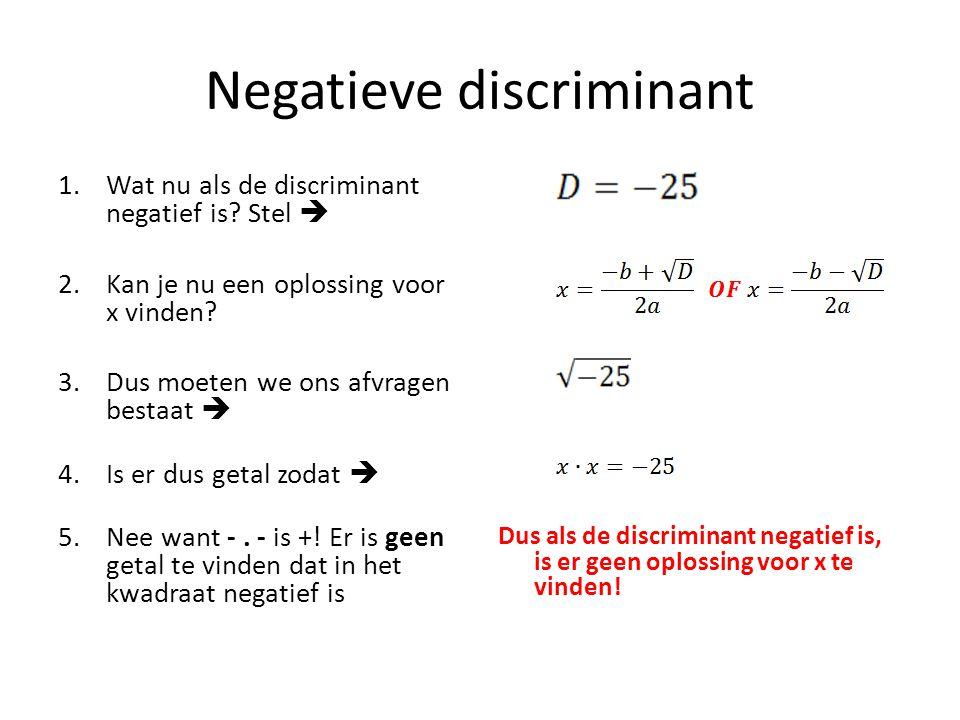 Negatieve discriminant 1.Wat nu als de discriminant negatief is? Stel  2.Kan je nu een oplossing voor x vinden? 3.Dus moeten we ons afvragen bestaat