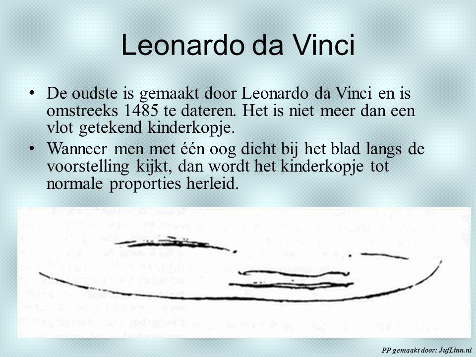 Leonardo da Vinci De oudste is gemaakt door Leonardo da Vinci en is omstreeks 1485 te dateren. Het is niet meer dan een vlot getekend kinderkopje. Wan