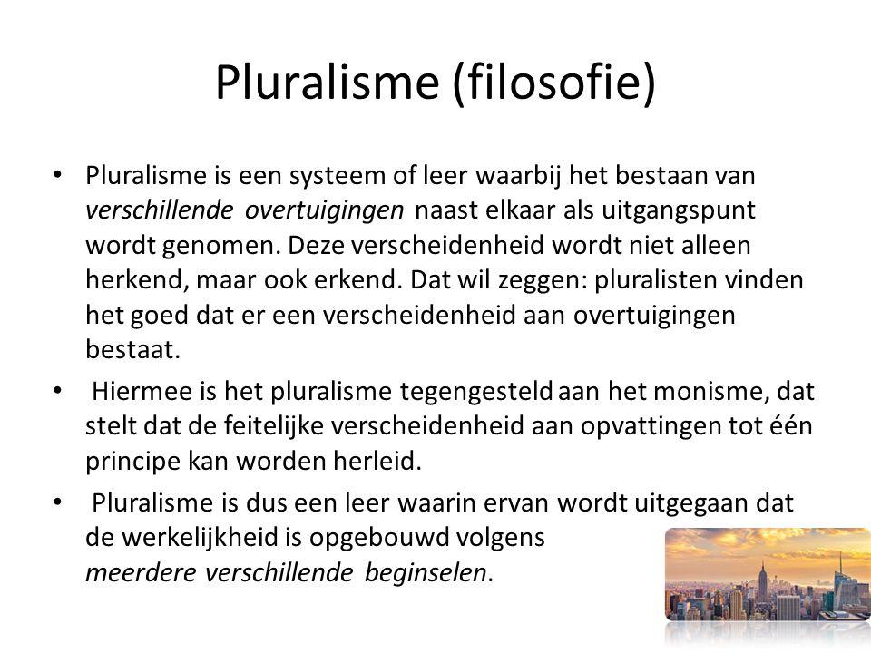 Pluralisme (filosofie) Pluralisme is een systeem of leer waarbij het bestaan van verschillende overtuigingen naast elkaar als uitgangspunt wordt genomen.
