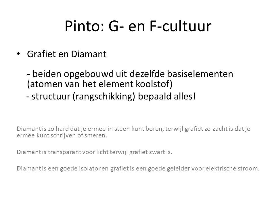 Pinto: G- en F-cultuur Grafiet en Diamant - beiden opgebouwd uit dezelfde basiselementen (atomen van het element koolstof) - structuur (rangschikking) bepaald alles.