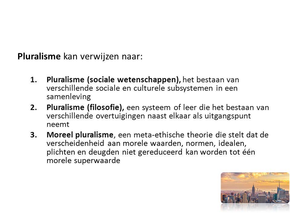 Pluralisme kan verwijzen naar: 1.Pluralisme (sociale wetenschappen), het bestaan van verschillende sociale en culturele subsystemen in een samenleving 2.Pluralisme (filosofie), een systeem of leer die het bestaan van verschillende overtuigingen naast elkaar als uitgangspunt neemt 3.Moreel pluralisme, een meta-ethische theorie die stelt dat de verscheidenheid aan morele waarden, normen, idealen, plichten en deugden niet gereduceerd kan worden tot één morele superwaarde