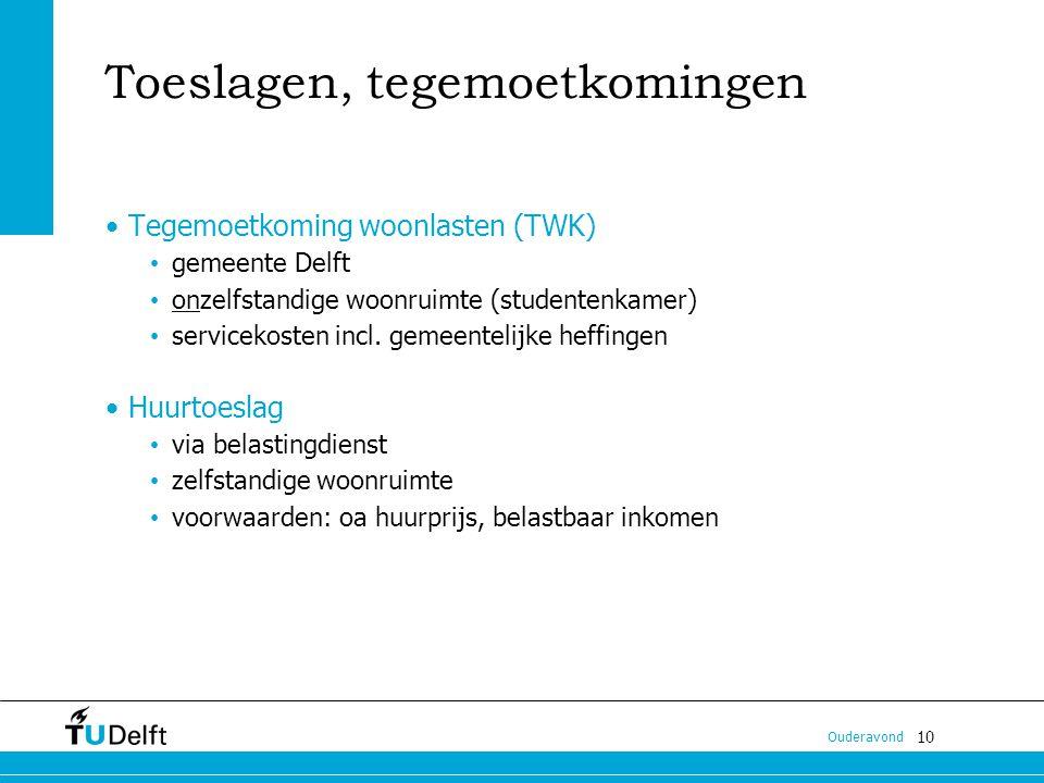 10 Ouderavond Toeslagen, tegemoetkomingen Tegemoetkoming woonlasten (TWK) gemeente Delft onzelfstandige woonruimte (studentenkamer) servicekosten incl.