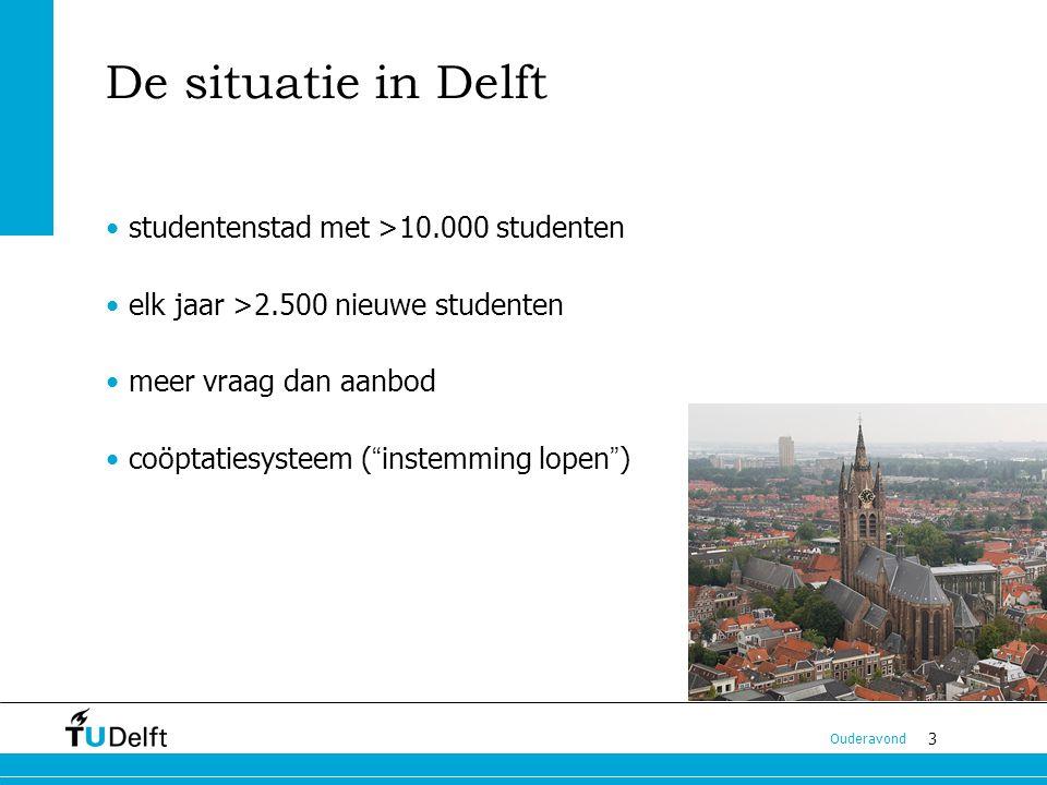 3 Ouderavond De situatie in Delft studentenstad met >10.000 studenten elk jaar >2.500 nieuwe studenten meer vraag dan aanbod coöptatiesysteem ( instemming lopen )