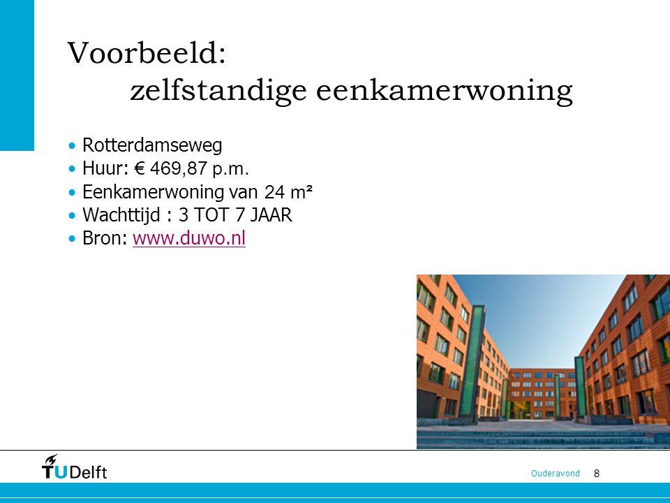 8 Ouderavond Voorbeeld: zelfstandige eenkamerwoning Rotterdamseweg Huur: € 469,87 p.m.