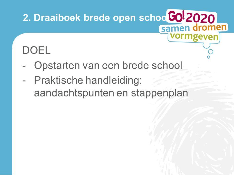 2. Draaiboek brede open school DOEL -Opstarten van een brede school -Praktische handleiding: aandachtspunten en stappenplan
